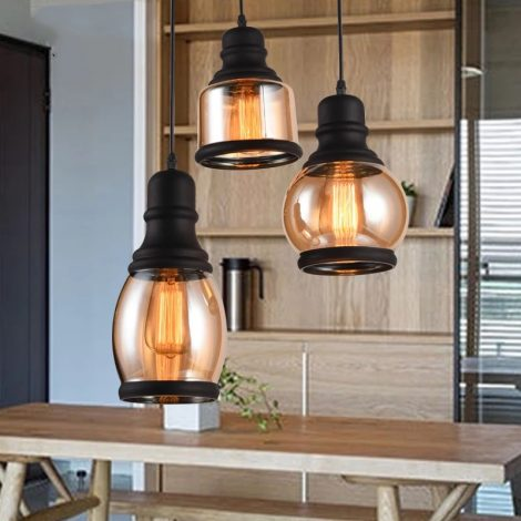 Modern amber glass pendant light